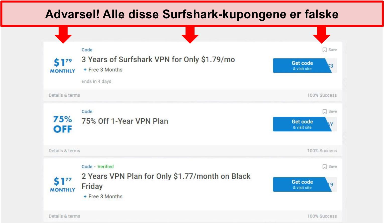 Skjermbilde av falske Surfshark-kuponger