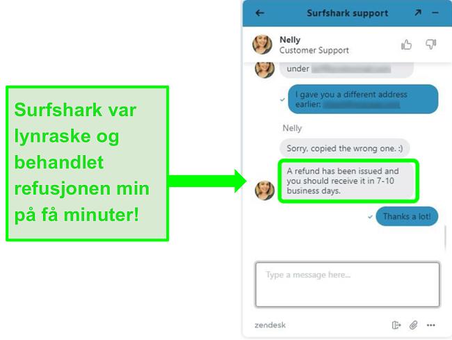 Ber om refusjon via Surfsharks live chat