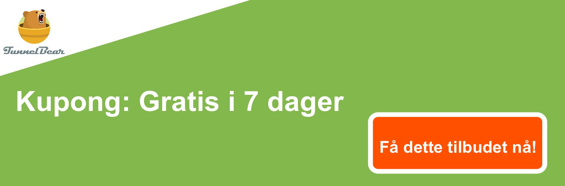 TunnelBear VPN-kupongbanner - 7 dager gratis