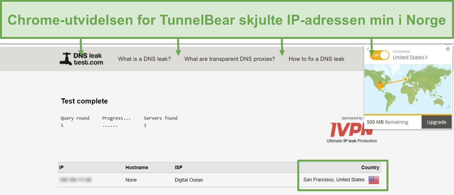 Skjermbilde av DNS-lekkasjetestresultater når den er koblet til TunnelBear.
