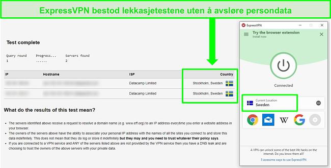 Skjermbilde av ExpressVPN som har bestått en DNS-lekkasjetest mens den er koblet til svenske servere