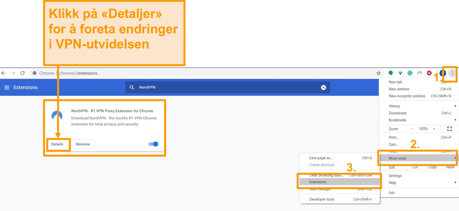 Skjermbilde av innstillingene for utvidelse av Google Chrome-nettleser.