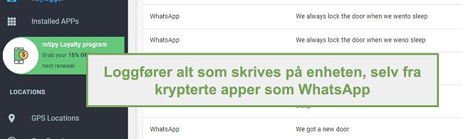 Skjermbilde av logger fra krypterte apper som WhatsApp