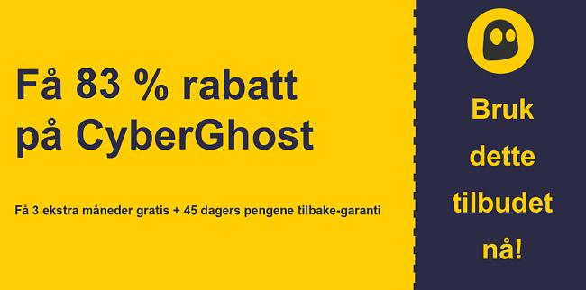 grafikk av CyberGhostVPN hovedkupongbanner som viser 83% avslag