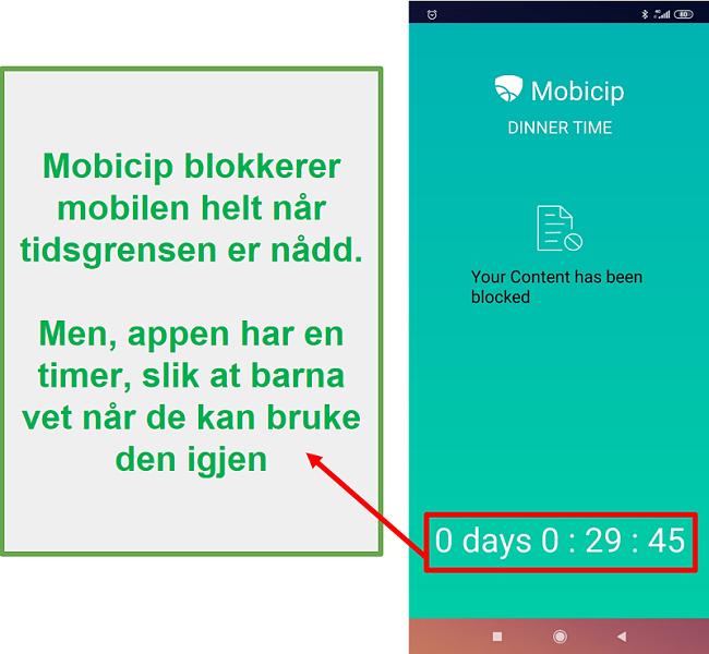 Mobicip blokkerer en enhet