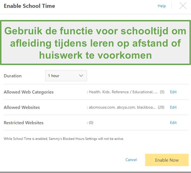 Remote School-functie met Norton Family