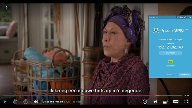 Screenshot van PrivateVPN verbonden met de Amerikaanse server met streaming van Grace en Frankie op Netflix US