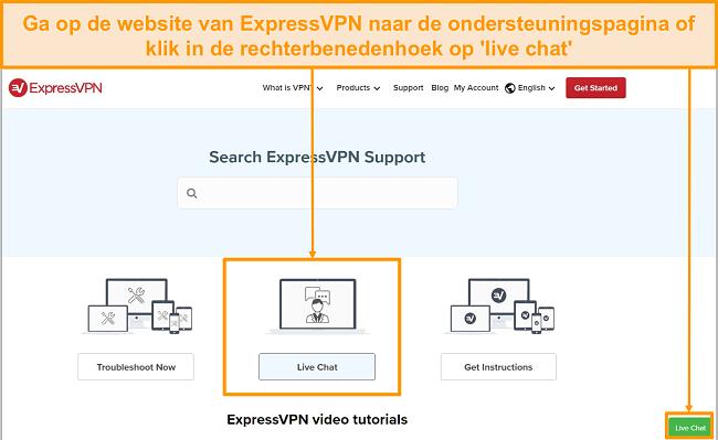 Screenshot van ExpressVPN live chat-ondersteuning.