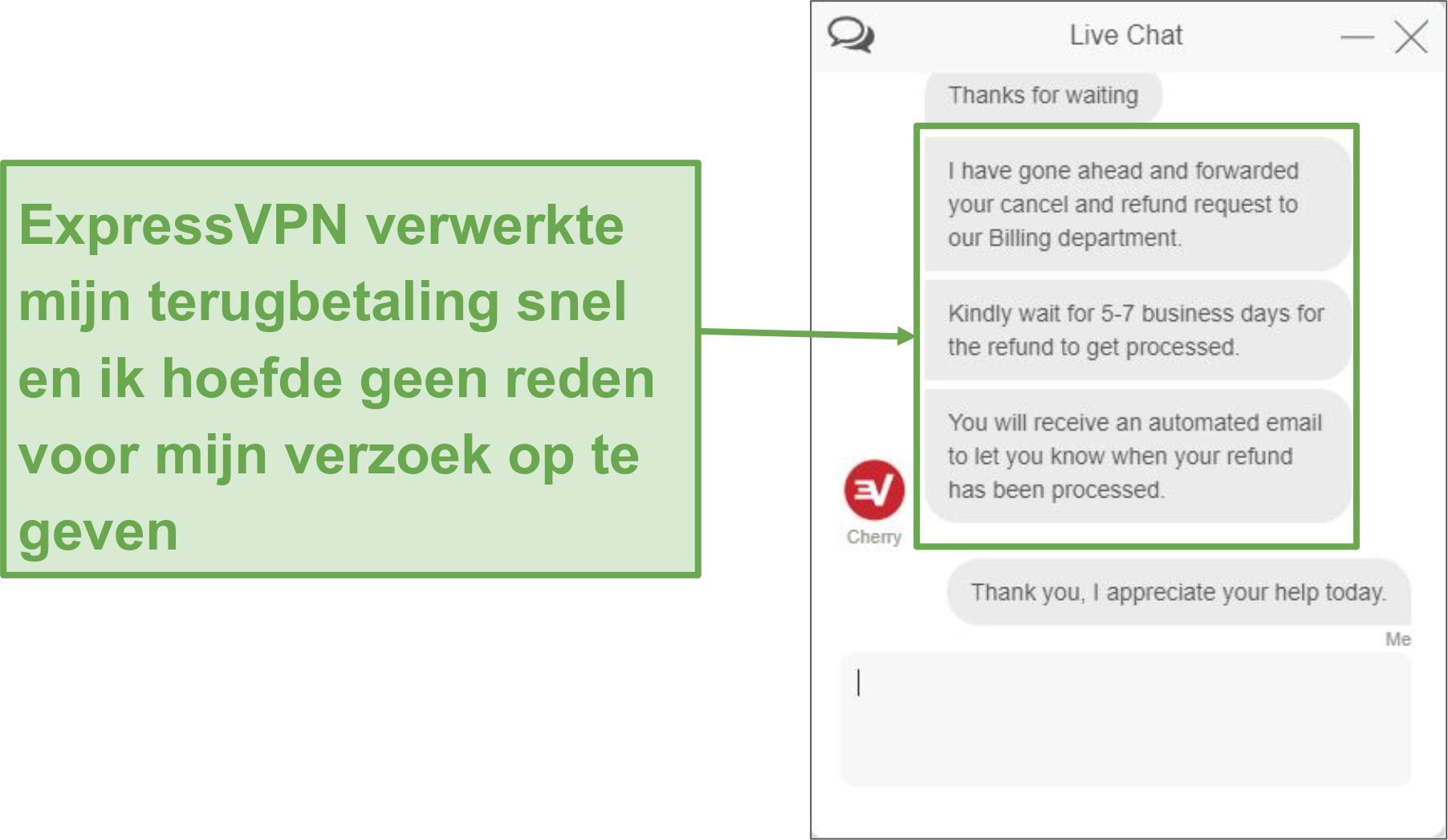 Schermafbeelding van het terugbetalingsverzoek via live chat.