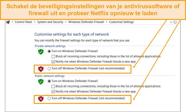 Screenshot van firewall en beveiligingsinstellingen.