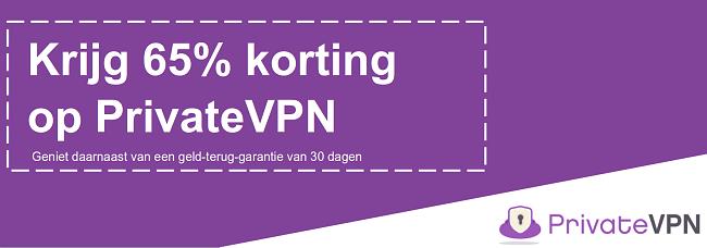 Afbeelding van een werkende PrivateVPN-kortingsbon die 65% korting biedt met een 30 dagen geld-terug-garantie