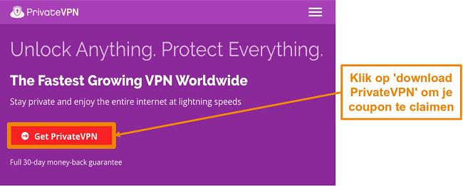 Screenshot van het startscherm van PrivateVPN met een