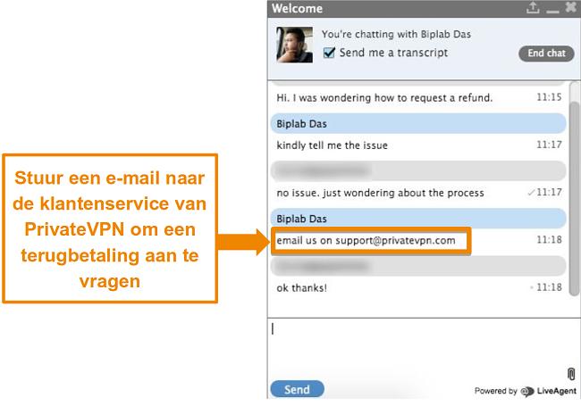 Screenshot van een PrivateVPN live chat-agent die instructies geeft om een restitutieverzoek via e-mail te verzenden