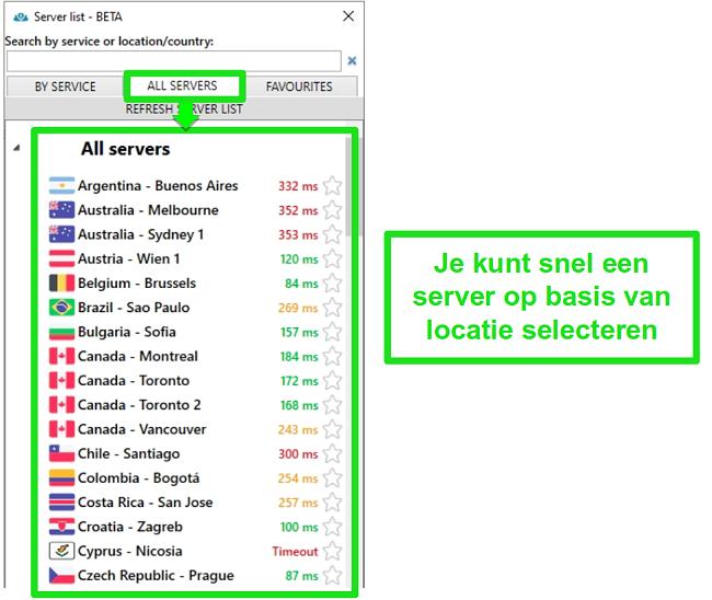 Screenshot van PrivateVPN-serverlocaties onder de lijst