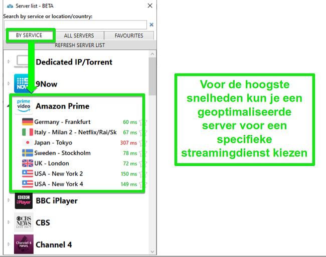 Screenshot van streaming-serveropties voor PrivateVPN