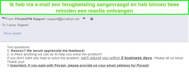 Screenshot van PrivateVPN die snel reageert op mijn terugbetalingsverzoek via e-mail