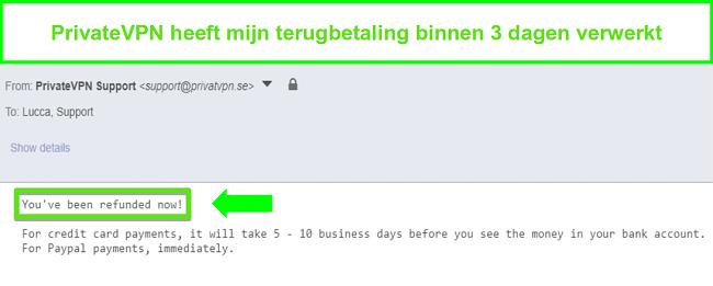 Screenshot van de reactie van PrivateVPN na het verwerken van een terugbetaling