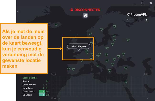 Screenshot van de interactieve serverkaart van ProtonVPN.