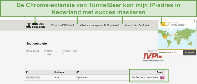 Screenshot van DNS-lektestresultaten bij verbinding met TunnelBear.