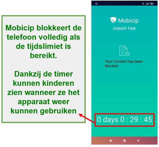 Mobicip blokkeert een apparaat