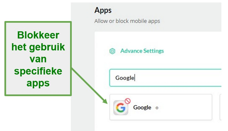 Mobicip blokkeert apps