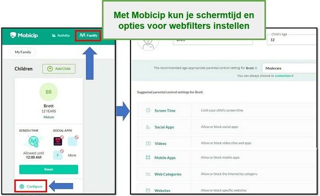 Mobicip heeft een webfilter ingesteld