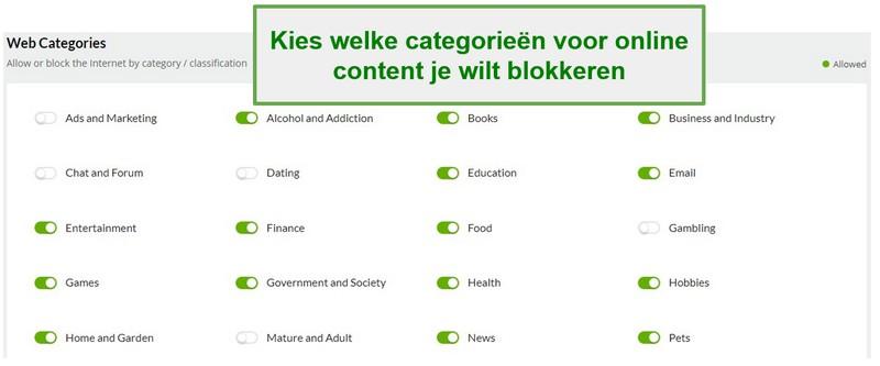 Mobiicip-webcategorieën
