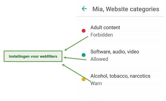 Safe Kids past webfilters aan