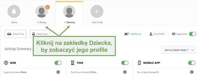 Skonfiguruj różne profile Norton Family dla każdego dziecka