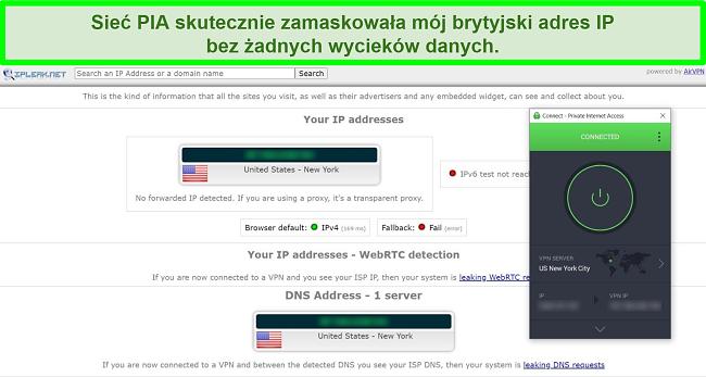Zrzut ekranu z wynikami testu szczelności IP z PIA podłączonym do serwera w USA.