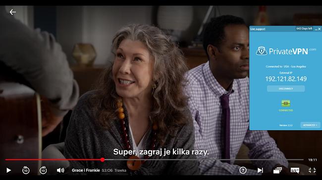 Zrzut ekranu z PrivateVPN połączonym z serwerem w USA z Grace i Frankie streaming na Netflix US