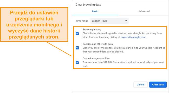 Zrzut ekranu pamięci podręcznej i historii przeglądania.