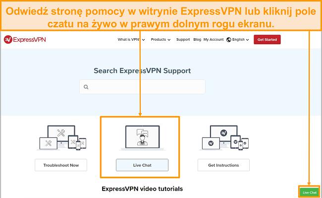 Zrzut ekranu obsługi czatu na żywo ExpressVPN.