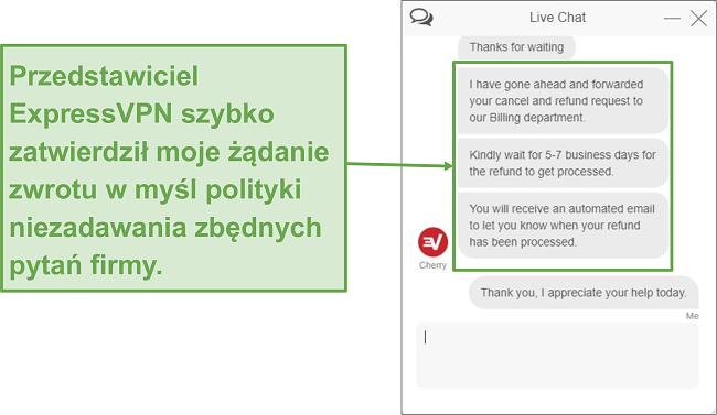 Zrzut ekranu zwrotu ExpressVPN za pośrednictwem czatu na żywo.
