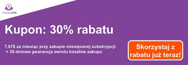 Grafika działającego kuponu PrivateVPN na 1-miesięczną subskrypcję za 7,67 USD i 30-dniową gwarancję zwrotu pieniędzy