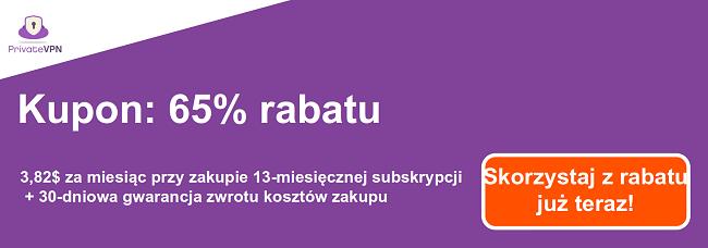 Grafika działającego kuponu PrivateVPN z 65% rabatem na 13-miesięczną subskrypcję i 30-dniową gwarancją zwrotu pieniędzy