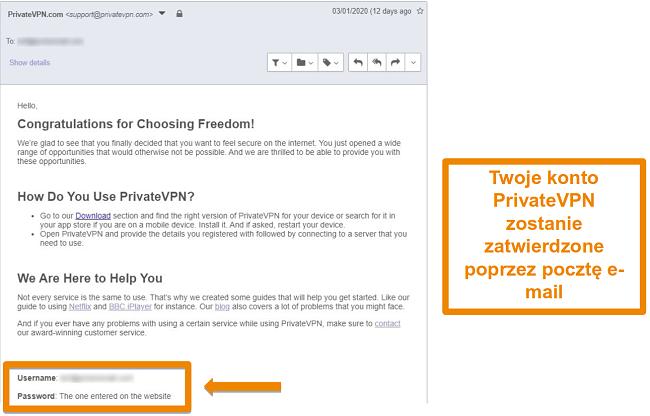 Zrzut ekranu z potwierdzeniem e-maila PrivateVPN po zarejestrowaniu się w celu założenia konta