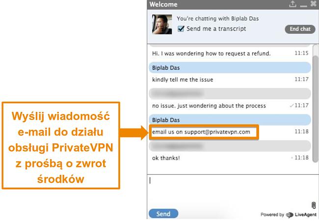 Zrzut ekranu przedstawiający agenta czatu na żywo PrivateVPN zawierający instrukcje wysyłania prośby o zwrot środków pocztą elektroniczną