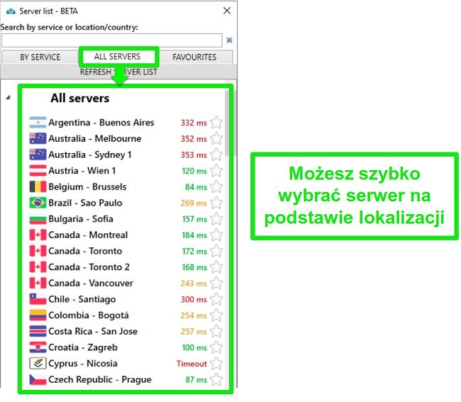 """Zrzut ekranu przedstawiający lokalizacje serwerów PrivateVPN na liście """"Wszystkie serwery"""""""