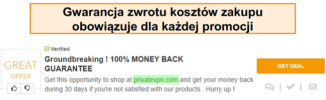"""Zrzut ekranu kuponu PrivateVPN reklamującego gwarancję zwrotu pieniędzy jako """"ofertę"""""""
