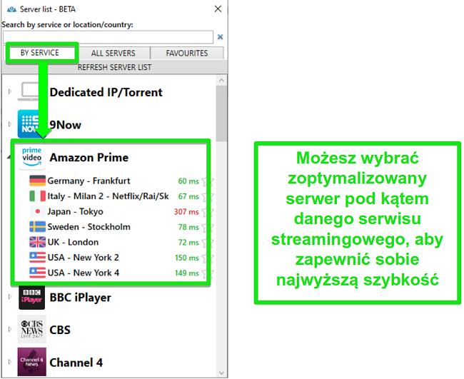 Zrzut ekranu opcji serwera strumieniowego dla PrivateVPN