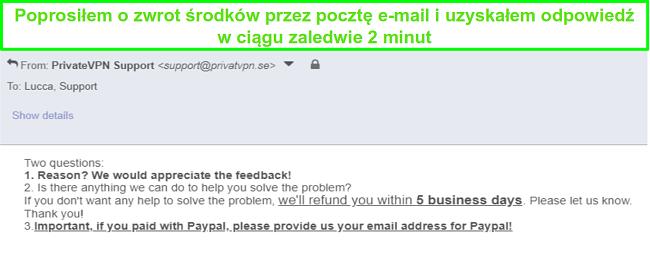 Zrzut ekranu z PrivateVPN, który szybko odpowiada na moją prośbę o zwrot pieniędzy za pośrednictwem poczty elektronicznej