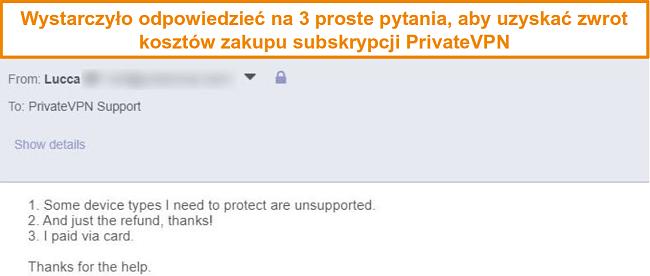 Zrzut ekranu z odpowiedziami na prośbę o zwrot kosztów PrivateVPN przez e-mail