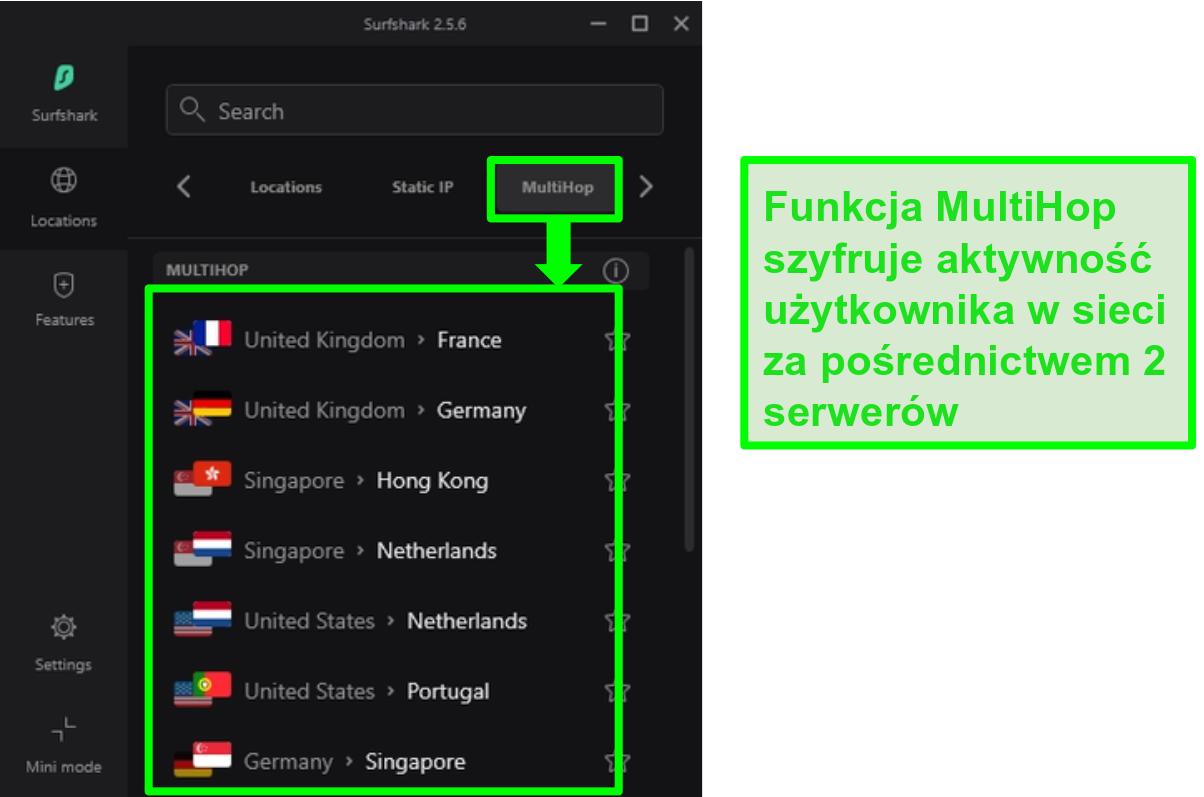 Zrzut ekranu przeglądu serwerów Surfshark pokazujący ich serwery MultiHop
