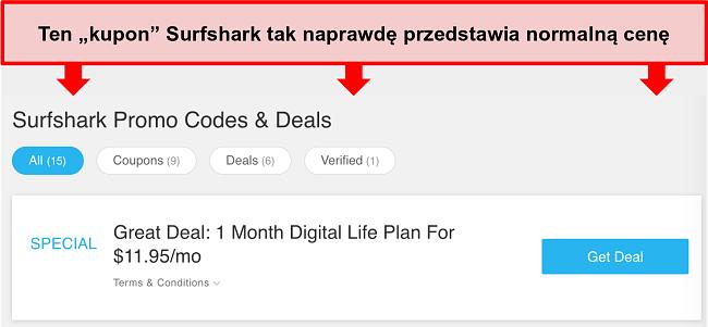 Zrzut ekranu fałszywych kodów promocyjnych i ofert Surfshark