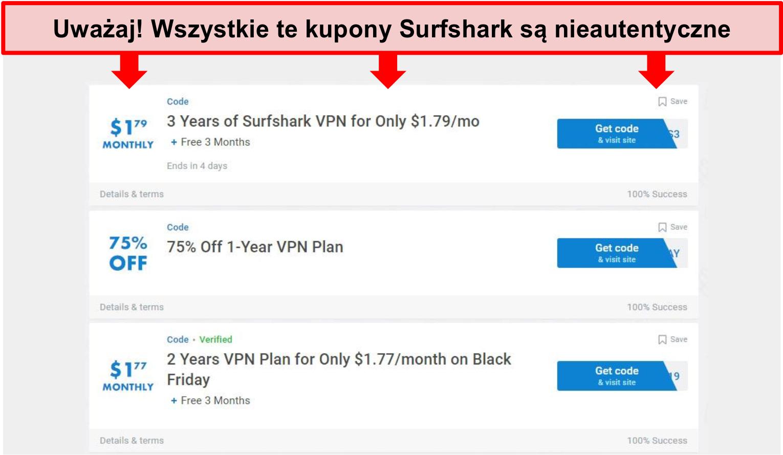 Zrzut ekranu fałszywych kuponów Surfshark