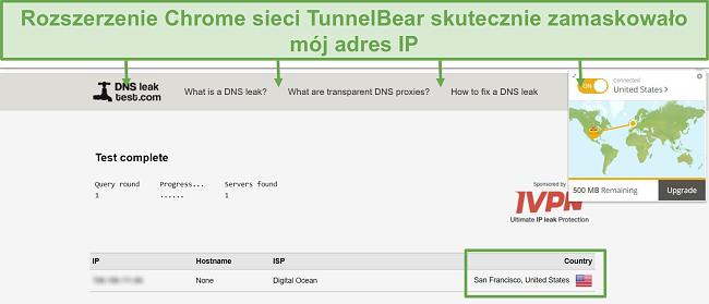 Zrzut ekranu z wynikami testu wycieku DNS po podłączeniu do TunnelBear.