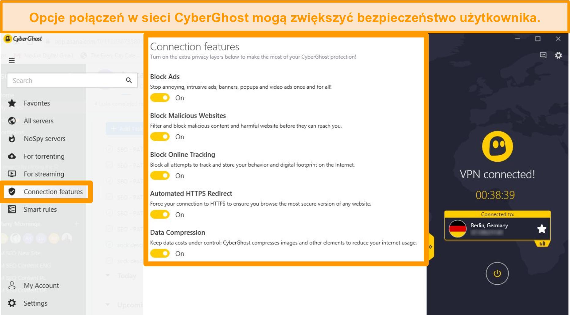 Zrzut ekranu przedstawiający funkcje połączenia CyberGhost w celu poprawy bezpieczeństwa online