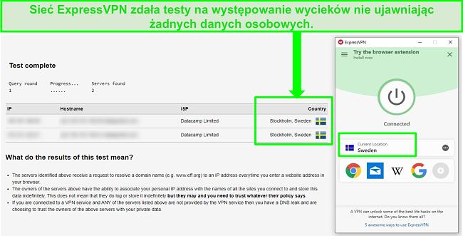 Zrzut ekranu przedstawiający ExpressVPN przechodzący test wycieku DNS podczas połączenia ze szwedzkimi serwerami