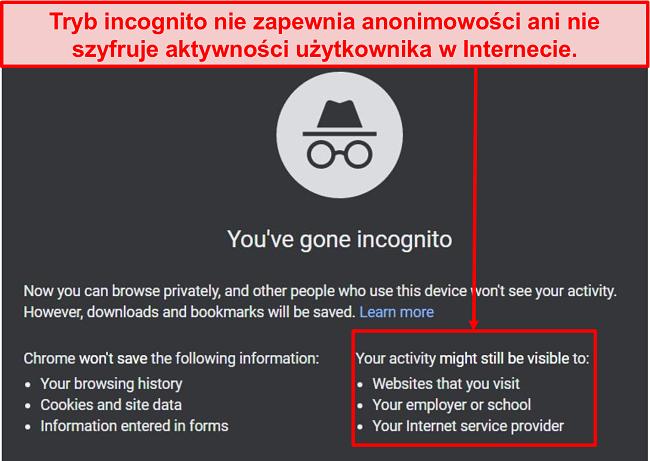 Zrzut ekranu powiadomień w trybie incognito.